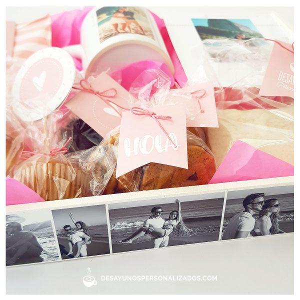 corazones clasico con taza y bandeja rosa